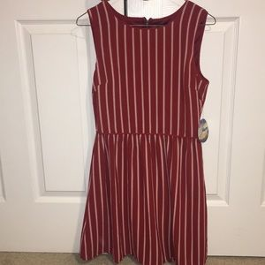 Red and cream striped dress